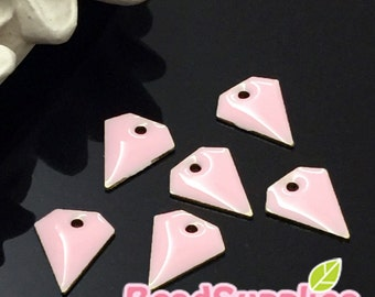 CH-EX-08094PP - Brass,Petite diamond charm, pale pink, 6 pcs