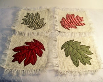 Quilted, Leaf Coasters, Set of 4, Country, Folk Art, Primitive, Fall, Autumn