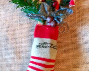 Small Vintage Christmas stocking ornament