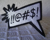 Comics Word Bubble Embroidered Iron On Patch Fighting Cursing Yelling