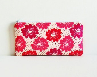 Padded Zipper Pouch Coin Purse Large Floral in Pink Denyse Schmidt Sugar Creek