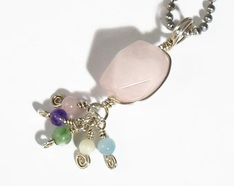 Sterling Silver Rose Quartz Wire Wrapped Pendant Tassel Necklace