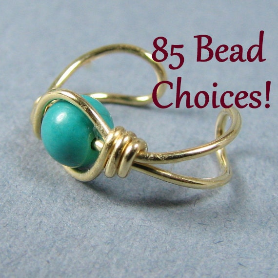 Ear Cuff Genuine Teal Turquoise Ear Cuff 14k Gold Filled Bohemian Jewelry cartilage earring no pierced choice of bead
