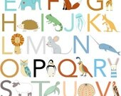 Alphabet Print, Fine Art Print by Kate Durkin, Nursery Alphabet Art