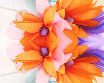 Desktop Wallpaper Vibrant Orange & Blue Floral