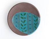 """READY TO SHIP - petite plate - 5"""" - folk - illustrated - handmade - on the trail series - art pottery"""