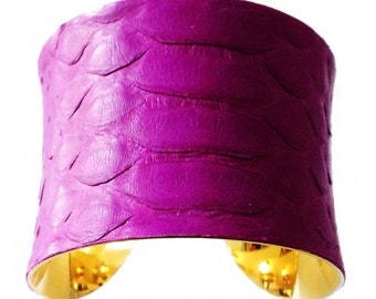 Snakeskin Cuff Bracelet in Matte Finish Violet - by UNEARTHED