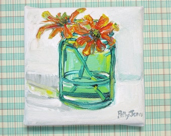 Blanket Flowers in a Green Bottle original acrylic still life painting by Polly Jones