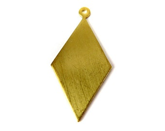Brass Long Diamond Engraving Charms with Bail (8X) (M822)