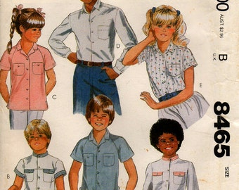 1983 Uncut Boys/Girls SHIRT Pattern McCALL'S #8465 Size 8 Button Front 6 Styles School Clothes Vintage Sewing