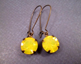 Rhinestone Earrings, Sunny Yellow Glass and Brass Dangle Earrings, FREE Shipping U.S.