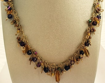 Touch of Amber Cluster Necklace