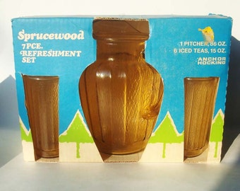 1970's Anchor Hocking Sprucewood Iced Tea Set NIB Pitcher Tumblers Glasses