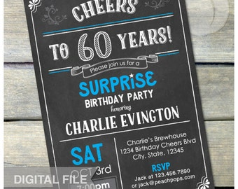 "Surprise 60th Birthday Chalkboard Invitation Surprise Birthday Party Invite Any Age - Digital Invite 5"" x 7"" Printable"