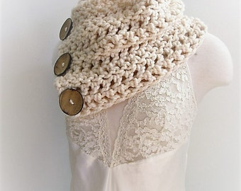 Ready to Ship, Chunky Cowl, Original Hamptons Boston Harbor Scarf, Outlander Scarf, Three Button Cowl Scarf, Cowl with 3 Buttons