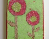 """red and green lollipop flowers with mica flakes folk art collage on 5"""" x 7"""" canvas, ready to hang"""