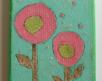 """pink and green lollipop flowers with mica flakes folk art collage on 5"""" x 7"""" canvas, ready to hang"""
