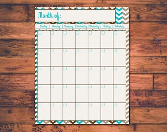 Printable Monthly Calendar - Blank Calendar - Month Planner - Organizer - Sand and Surf - Instant Download