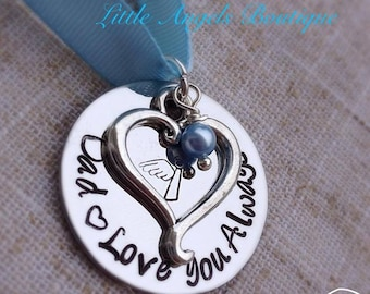 Wedding Bouquet Memorial Charm With Angel Stamp Hand Stamped Something Blue WA03
