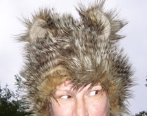 Brown Mouse Bear Fur Hat Ears Warm Winter Adult Hat Feather Furry Head Piece Costume