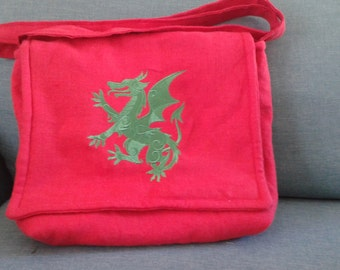 Heraldic, Middle Ages, SCA, Dagorhir, LARP, Pennsic, Renaissance, Faire, Dragon, Wyvern, Messenger Bag,Haversack, Pouch