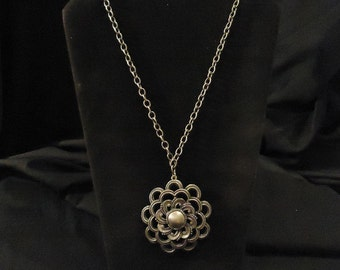 Vintage Pewter Looking Necklace and Pendant