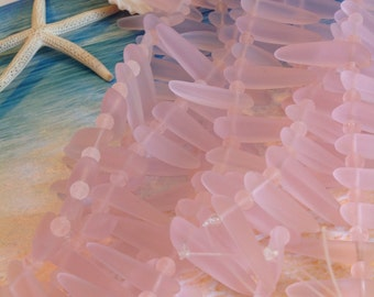 Sea glass dagger beads~spike beach glass bead-frosted cultured sea glass strand-drilled glass-pink tumbled glass-jewelry making supply-bead
