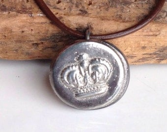Crown Pewter Necklace, Hand Cast, Royal Necklace, Vintage Button Cast, Dark Brown Leather, Leather Cord, Etsy, Etsy Jewelry
