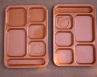 2 / two Vintage VOLLRATH brand ORANGE multi compartment trays
