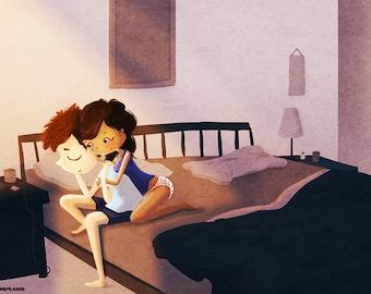 "Hugging Couple, Bedroom Art, Romantic, Love Wall Art - ""Good Morning"""