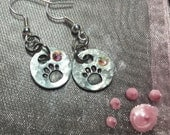 Tiny stamped paw print earrings
