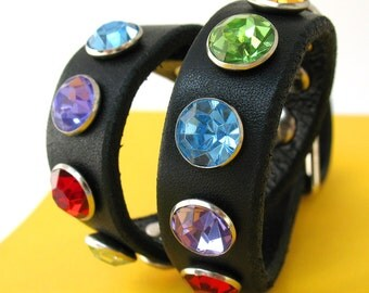 Black Leather Dog Collar with Jewel Tone Rhinestones, Size S, to fit a 10-13in Neck, Small Dog, EcoFriendly, OOAK