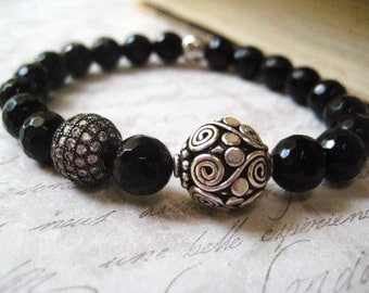 Black Onyx Bracelet, Semi Precious Stones, Herkimer Diamond, Bali Bead, Sterling Silver, Gemstone Beads, Black Onyx Beads, Stretch Bracelet