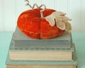 Vintage Velvet Pumpkin, Medium, Fall Decor, Autumn, Dark Rusty Orange, Recycled Wool, Adjustable Wire Stem, Lana Manis / Honeysuckle Lane