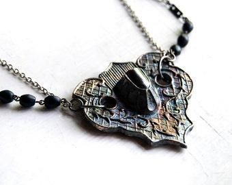 Death Armor Escutcheon Casket Handle Black Rosary Bead Necklace