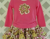 Three Tiered Twirl Skirt Flower Applique T-Shirt Set