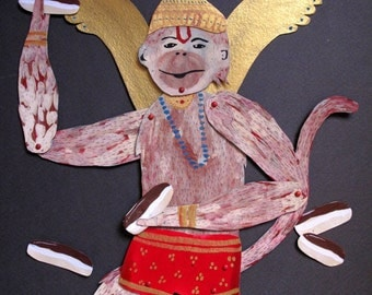 Hanuman The Monkey King Loves Eclairs Original Paper Doll Articulated / Hinged Beasts Series