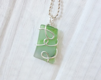 Lime Green Recycled Glass Pendant, Wire Wrapped Jewelry, Seaglass, Gifts under 20