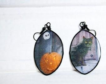 Black Cat Print Earrings, Halloween Jewelry, Recycled Paper