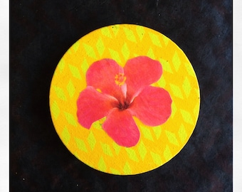 "Original 5"" Round Mini Painting with Collaged Red Hibiscus Flower"