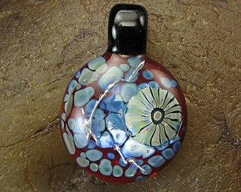 Handmade Lampwork Glass Focal Frit Pendant by Jason Powers SRA
