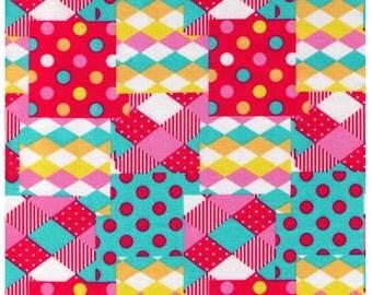 HALF YARD Diamond and Dot Cheater Pink, Yellow, Aqua-  Kawaii - Cosmo Textiles, Japanese Import