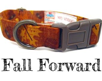 "Brown Orange Autumn Leaves Acorns Dog Collar - Organic Cotton Dog Collar - All Antique Brass Hardware - ""Fall Forward"""