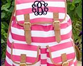 Hot Pink Striped Personalized Campus Backpack- Monogrammed Knapsack Backpack, Rucksack Bookbags, Older Girls Backpacks, College Bags