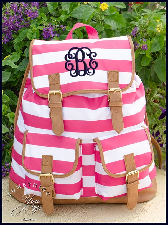 Hot Pink Striped Personalized Campus Backpack Monogrammed