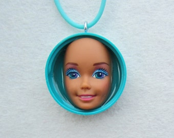 Barbie Doll Face upcycled pendant - aqua