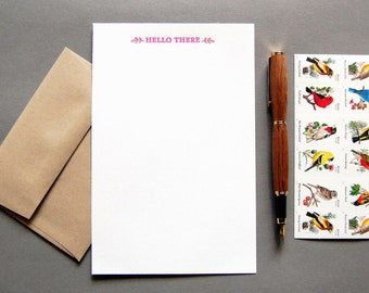 Letter Writing Kit: Hello There, letterpress stationery with envelopes