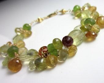 The Fruits of Autumn Bracelet - Lemon Quartz, Vesuvianite, Hessonite Garnet, and Peridot in Gold Fill