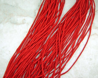 Fire Red Hand Dyed 100% Silk Cords Strings for Kumihimo Braids, Necklaces, Bracelets