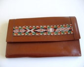 Vintage Brown Leather Document Holder Wallet Made in Peru